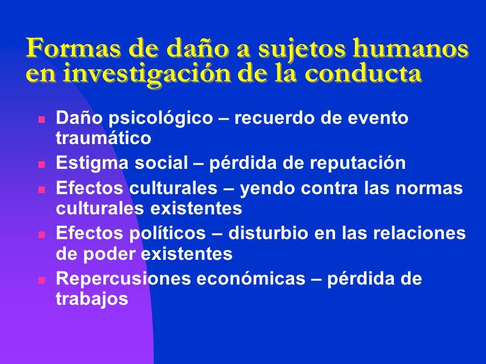 Formas de daño a sujetos humanos en investigación de la conducta