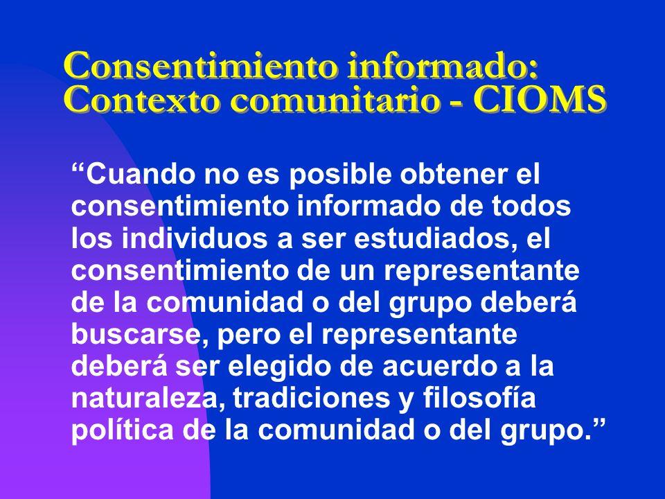 Consentimiento informado: Contexto comunitario - CIOMS