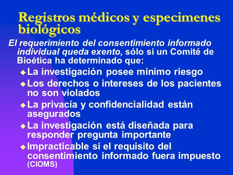Registros médicos y especimenes biológicos