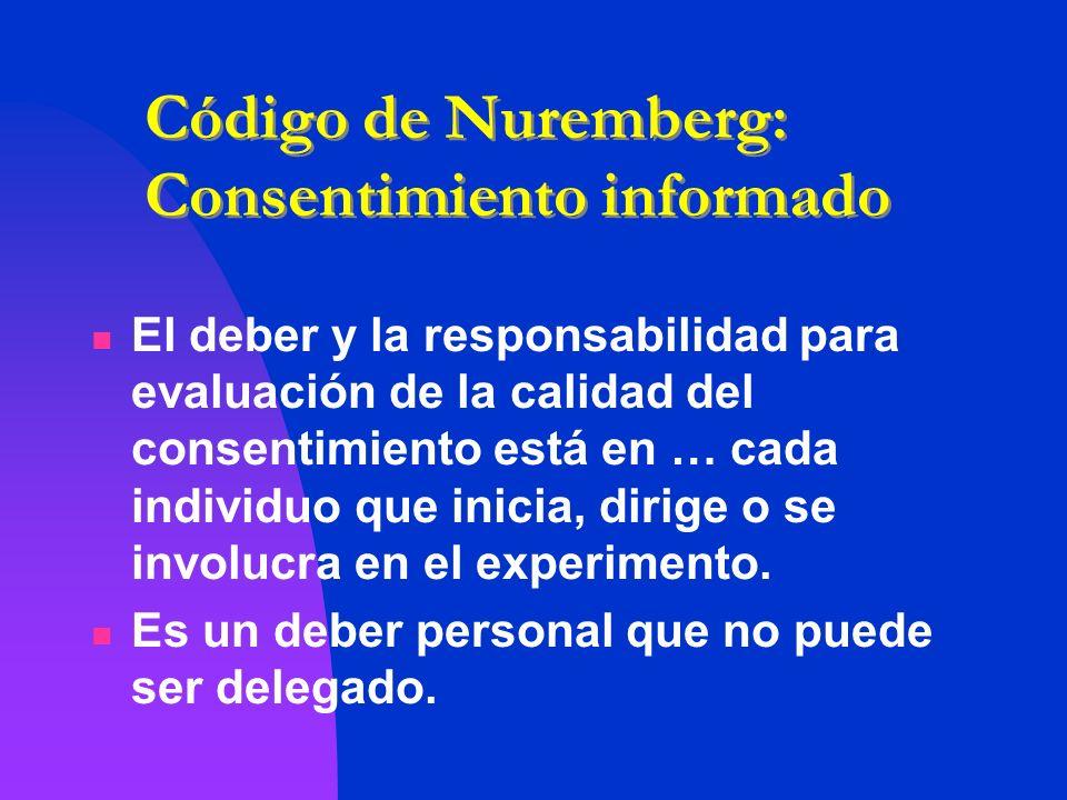 Código de Nuremberg: Consentimiento informado