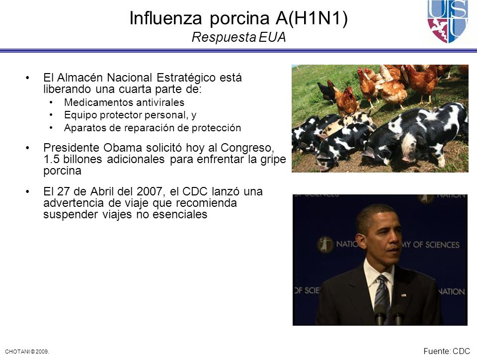 Influenza porcina A(H1N1) Respuesta EUA