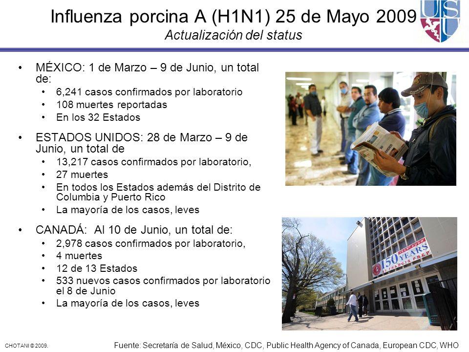 Influenza porcina A (H1N1) 25 de Mayo 2009 Actualización del status