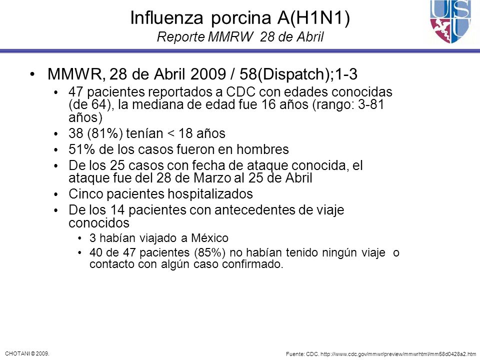 Influenza porcina A(H1N1) Reporte MMRW 28 de Abril