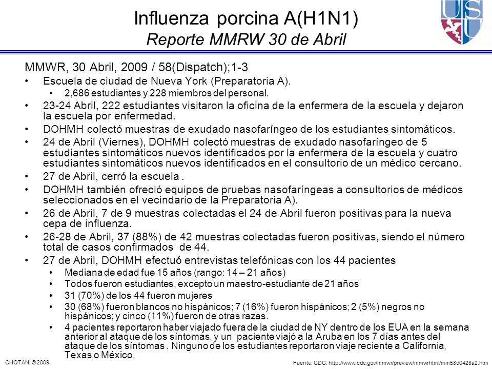 Influenza porcina A(H1N1) Reporte MMRW 30 de Abril