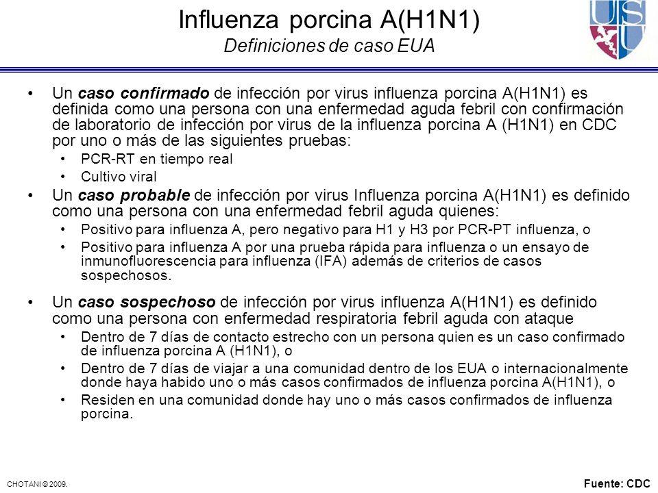 Influenza porcina A(H1N1) Definiciones de caso EUA