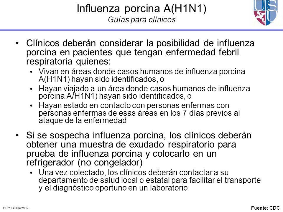 Influenza porcina A(H1N1) Guías para clínicos