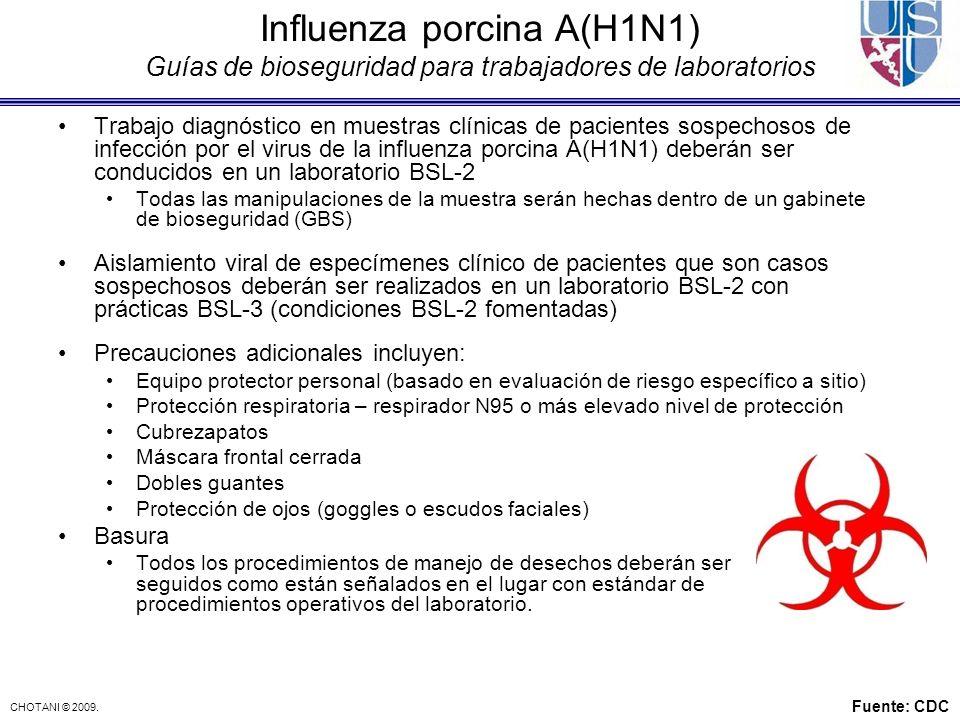 Influenza porcina A(H1N1) Guías de bioseguridad para trabajadores de laboratorios
