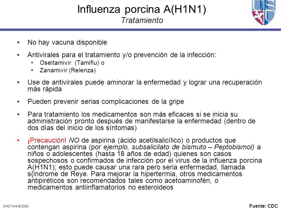 Influenza porcina A(H1N1) Tratamiento