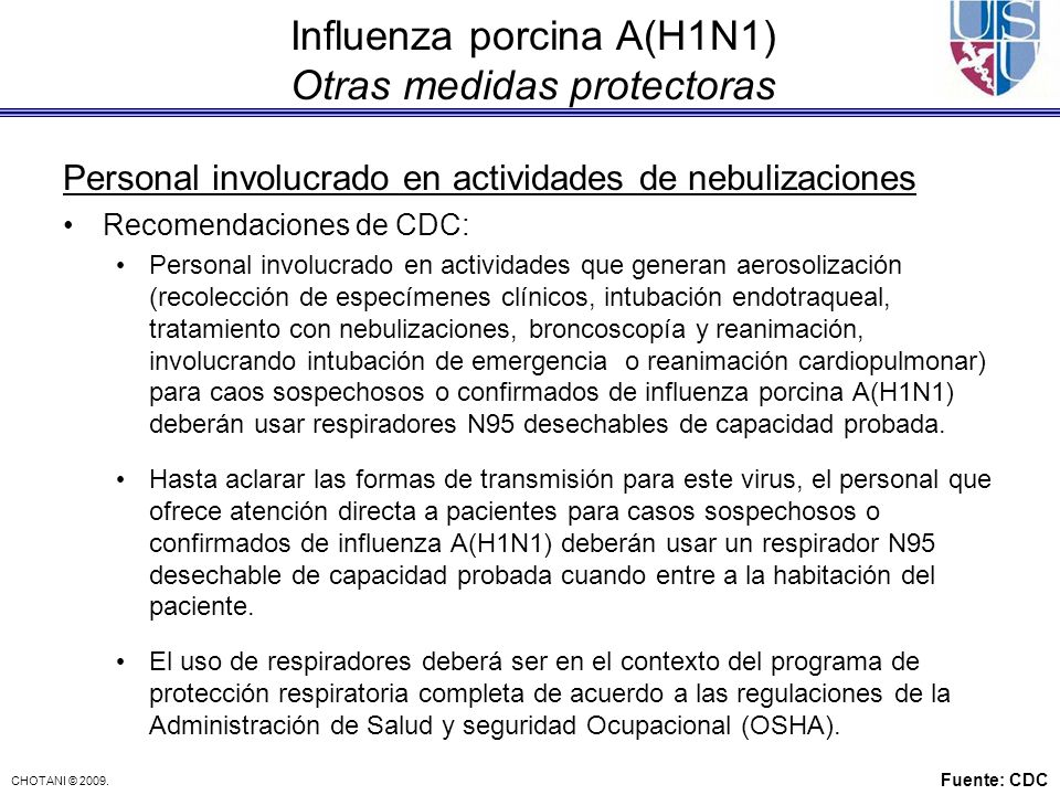 Influenza porcina A(H1N1) Otras medidas protectoras
