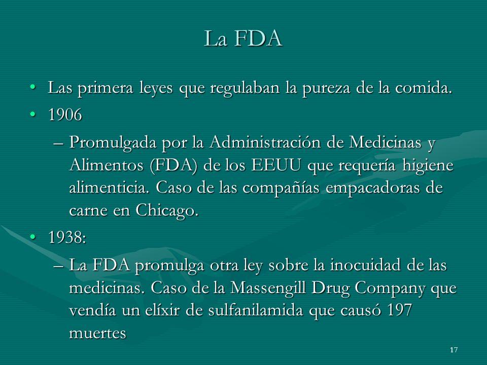 La FDA Las primera leyes que regulaban la pureza de la comida. 1906