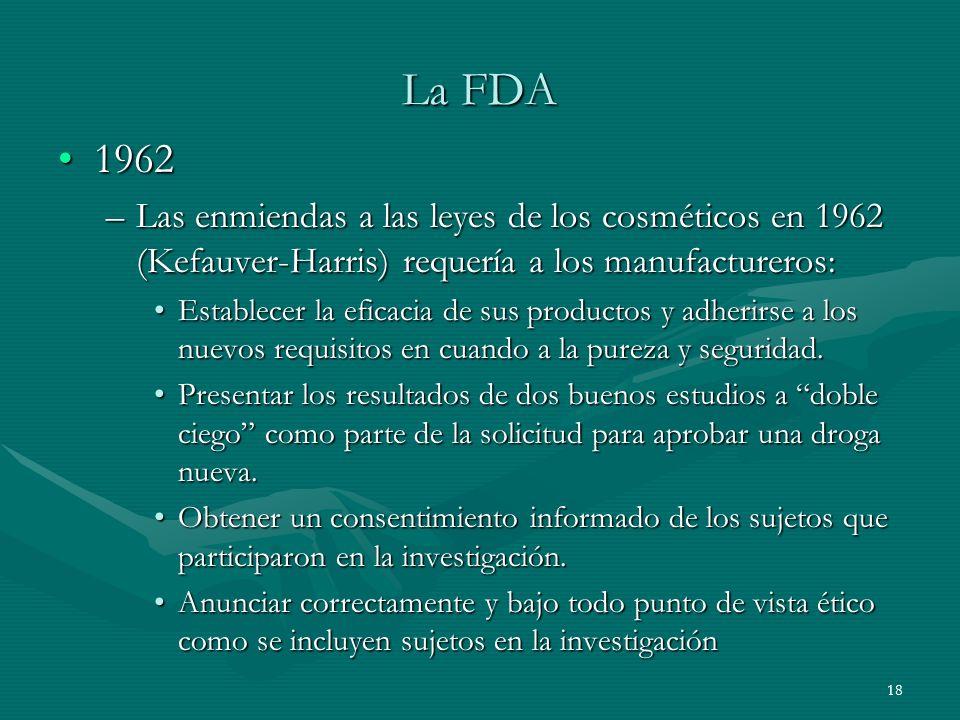 La FDA 1962. Las enmiendas a las leyes de los cosméticos en 1962 (Kefauver-Harris) requería a los manufactureros: