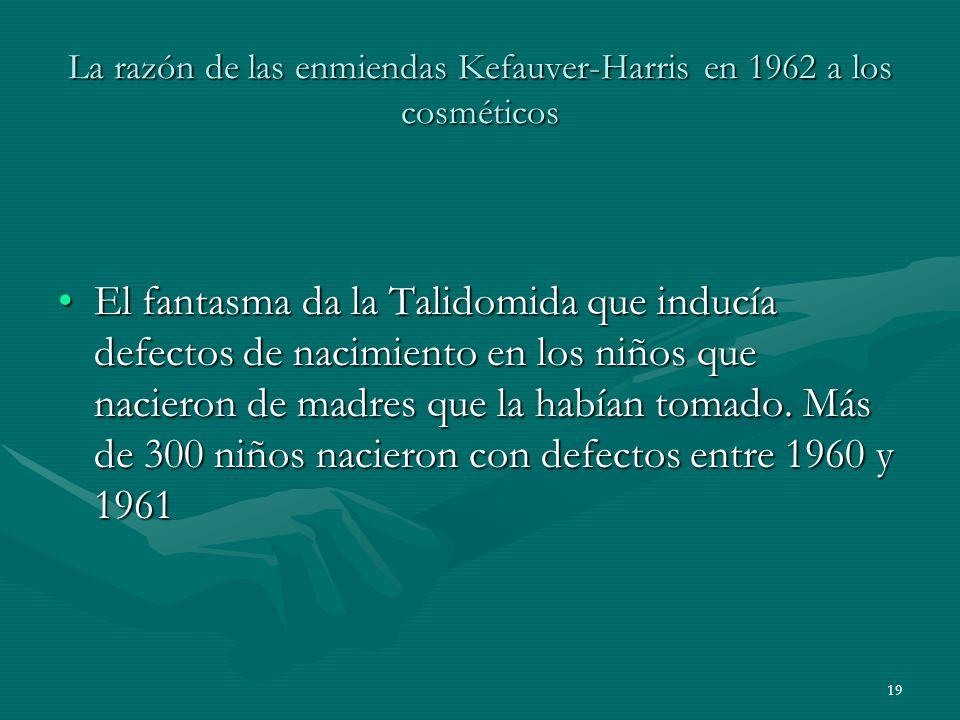 La razón de las enmiendas Kefauver-Harris en 1962 a los cosméticos