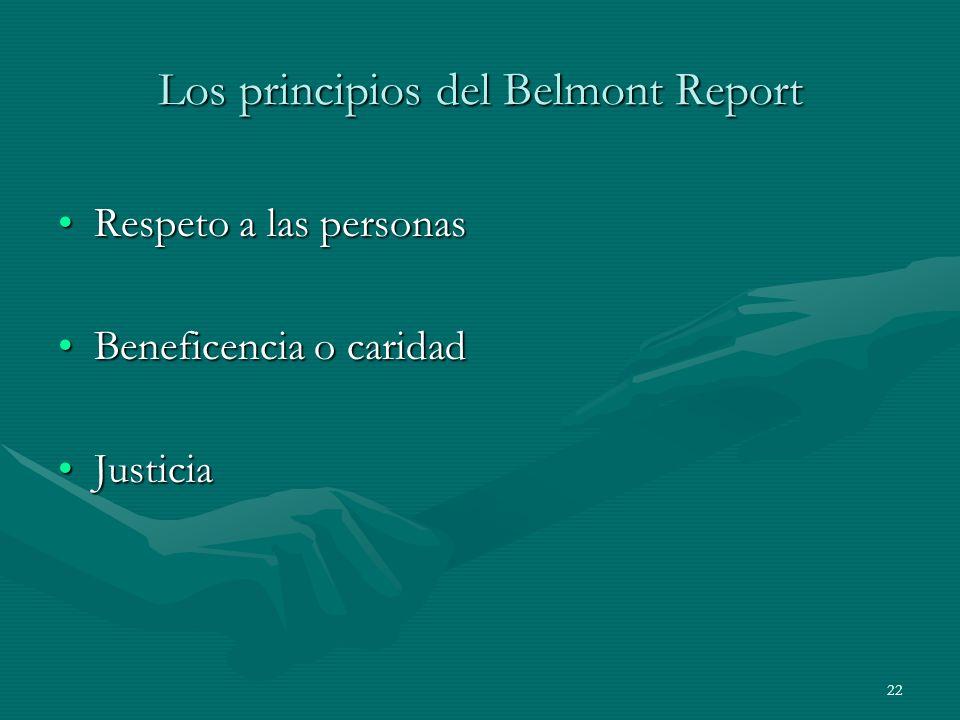Los principios del Belmont Report