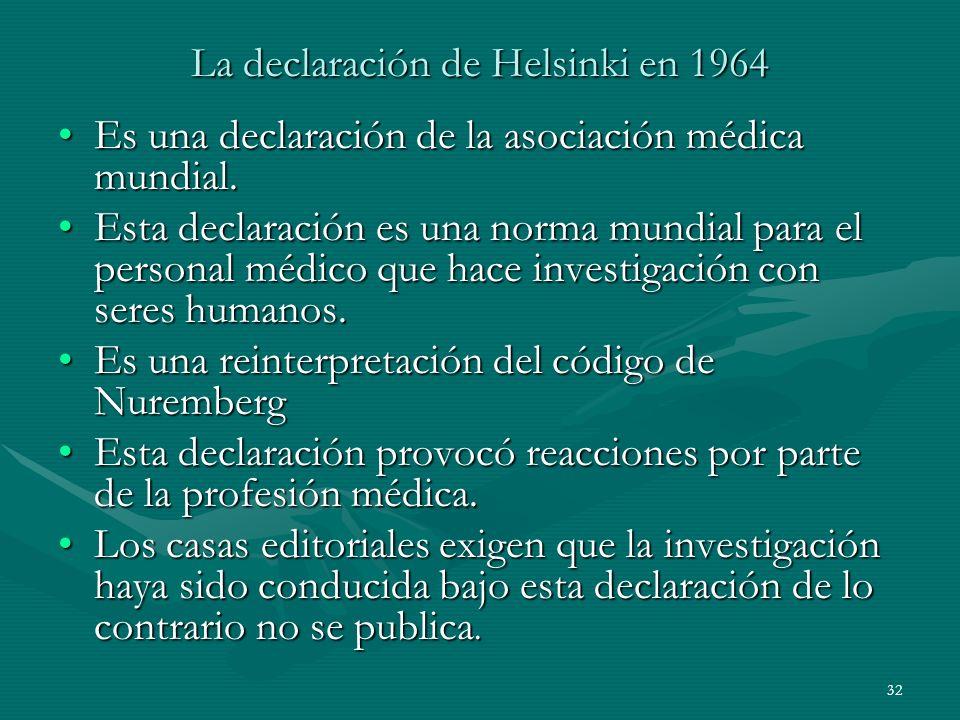 La declaración de Helsinki en 1964