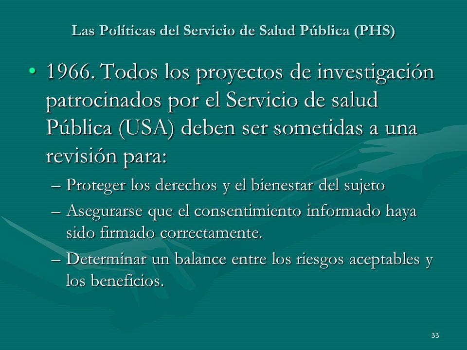 Las Políticas del Servicio de Salud Pública (PHS)