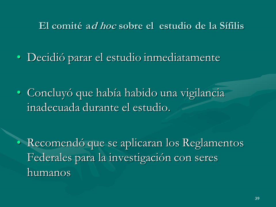 El comité ad hoc sobre el estudio de la Sífilis