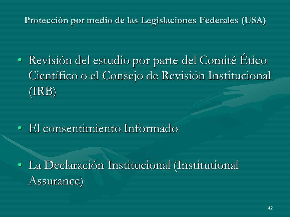 Protección por medio de las Legislaciones Federales (USA)