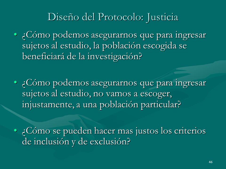 Diseño del Protocolo: Justicia