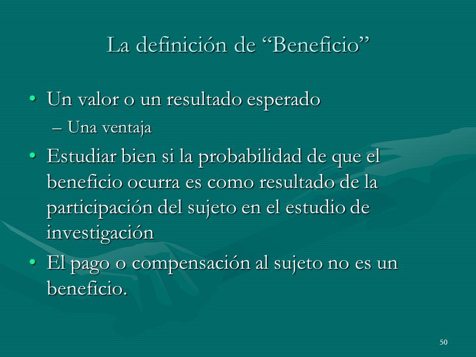 La definición de Beneficio