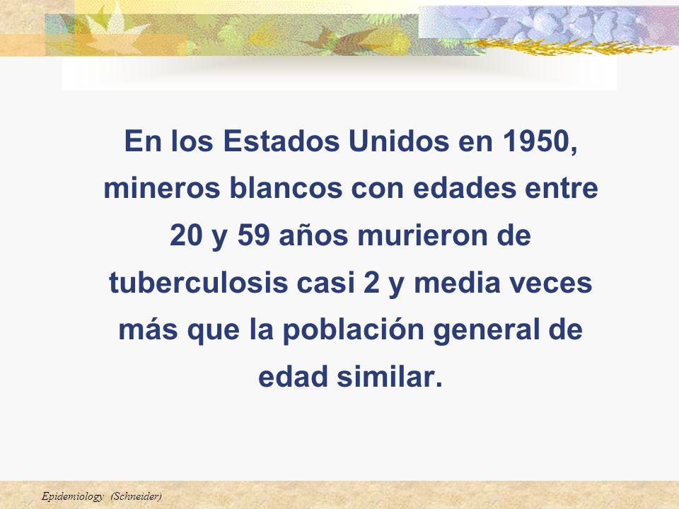 En los Estados Unidos en 1950, mineros blancos con edades entre 20 y 59 años murieron de tuberculosis casi 2 y media veces más que la población general de edad similar.