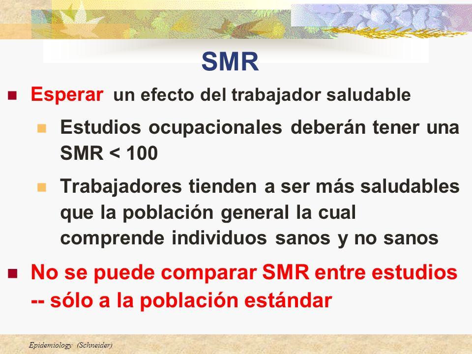 SMR Esperar un efecto del trabajador saludable. Estudios ocupacionales deberán tener una SMR < 100.