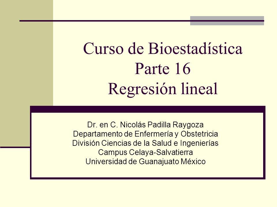 Curso de Bioestadística Parte 16 Regresión lineal