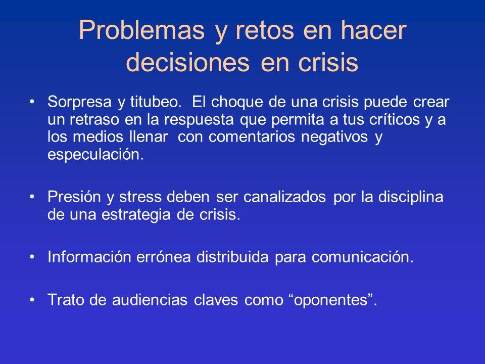 Problemas y retos en hacer decisiones en crisis