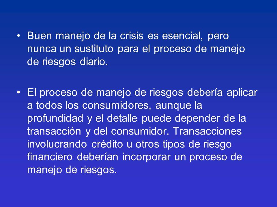 Buen manejo de la crisis es esencial, pero nunca un sustituto para el proceso de manejo de riesgos diario.