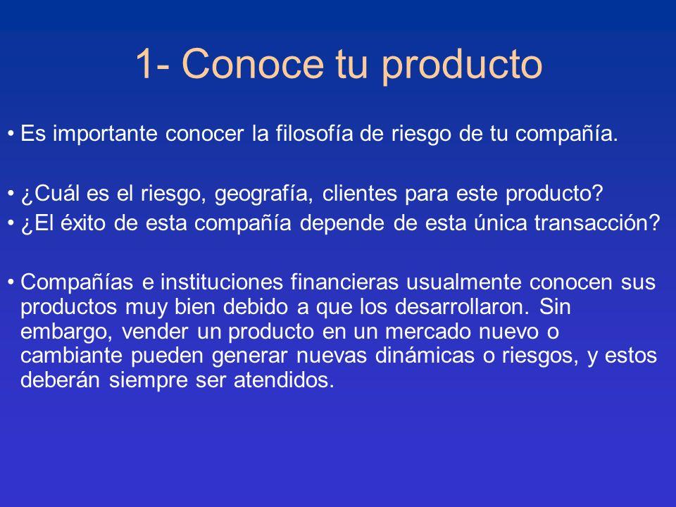 1- Conoce tu producto Es importante conocer la filosofía de riesgo de tu compañía. ¿Cuál es el riesgo, geografía, clientes para este producto