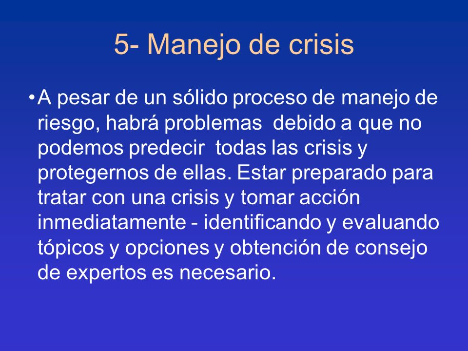 5- Manejo de crisis