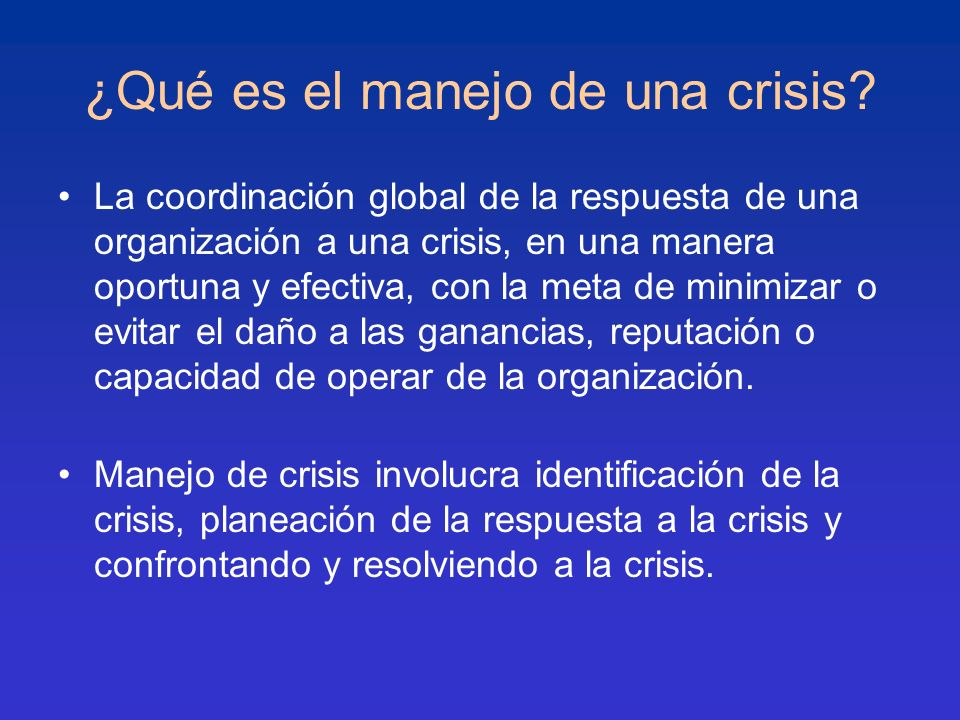 ¿Qué es el manejo de una crisis