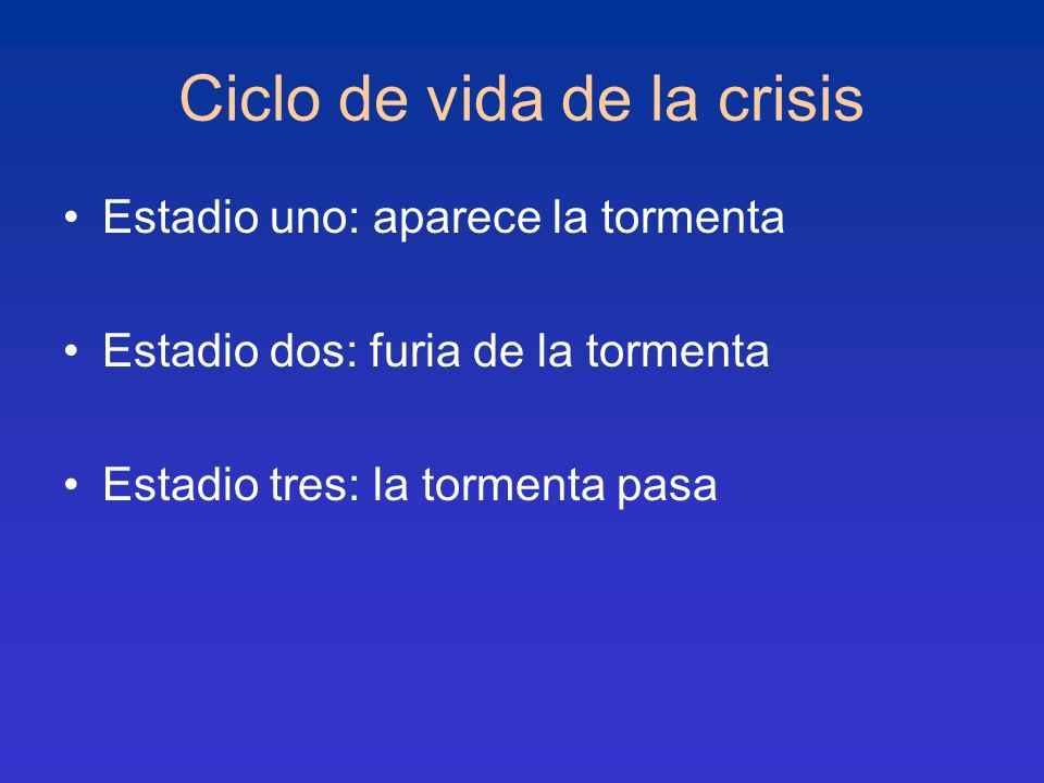 Ciclo de vida de la crisis