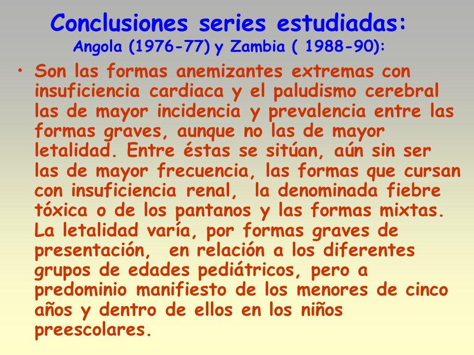 Conclusiones series estudiadas: Angola (1976-77) y Zambia ( 1988-90):