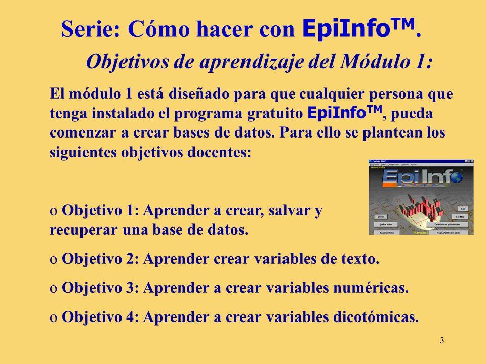 Serie: Cómo hacer con EpiInfoTM.