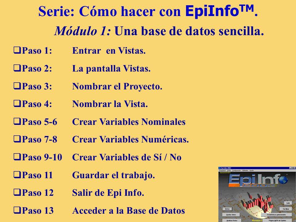 Serie: Cómo hacer con EpiInfoTM. Módulo 1: Una base de datos sencilla.
