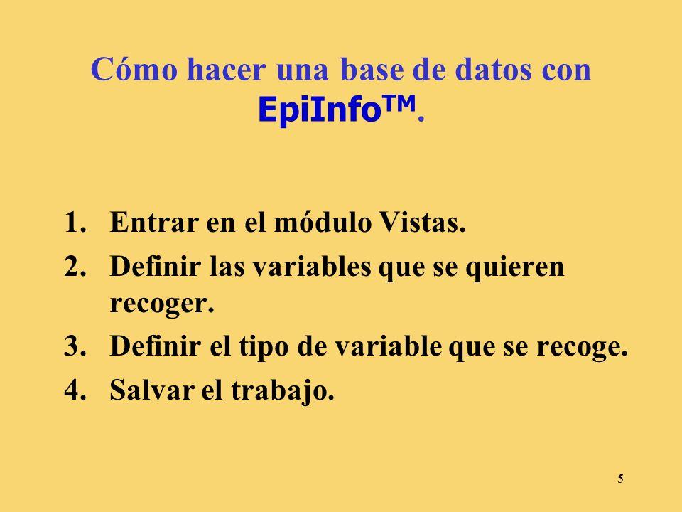Cómo hacer una base de datos con EpiInfoTM.