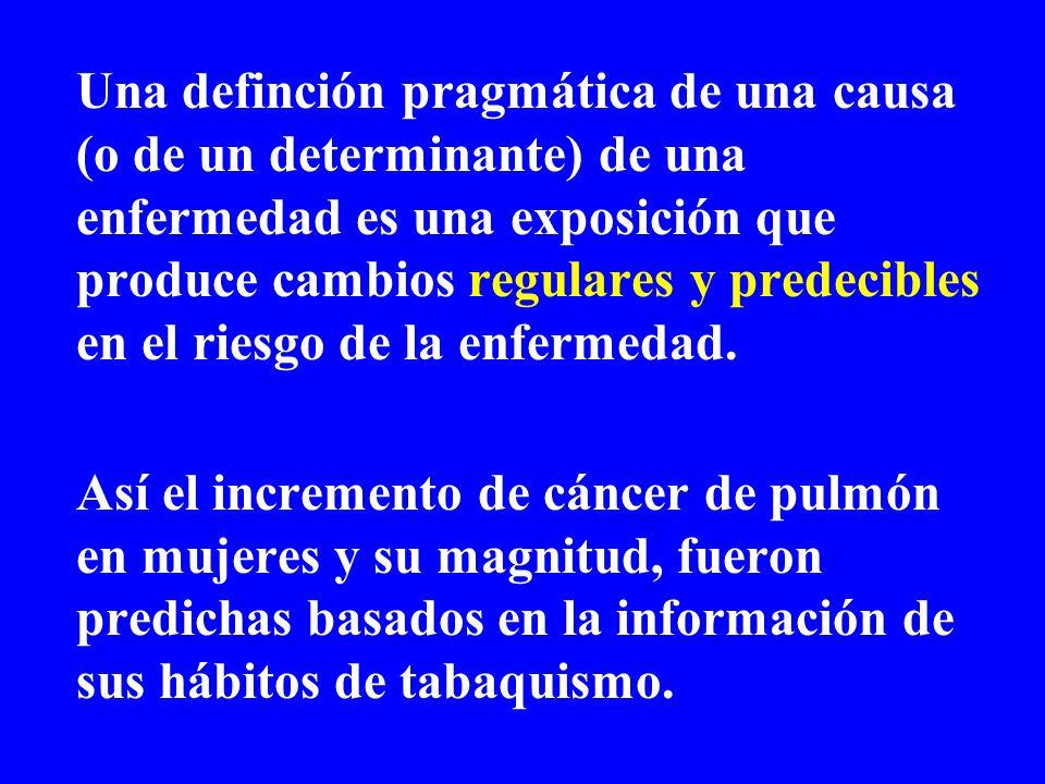 Una definción pragmática de una causa (o de un determinante) de una enfermedad es una exposición que produce cambios regulares y predecibles en el riesgo de la enfermedad.