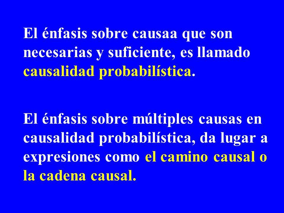 El énfasis sobre causaa que son necesarias y suficiente, es llamado causalidad probabilística.