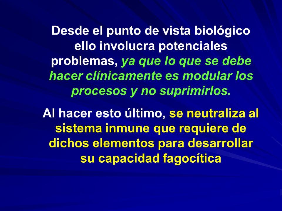 Desde el punto de vista biológico ello involucra potenciales problemas, ya que lo que se debe hacer clínicamente es modular los procesos y no suprimirlos.