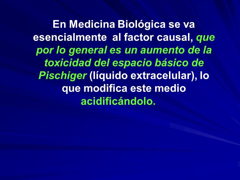 En Medicina Biológica se va esencialmente al factor causal, que por lo general es un aumento de la toxicidad del espacio básico de Pischiger (líquido extracelular), lo que modifica este medio acidificándolo.