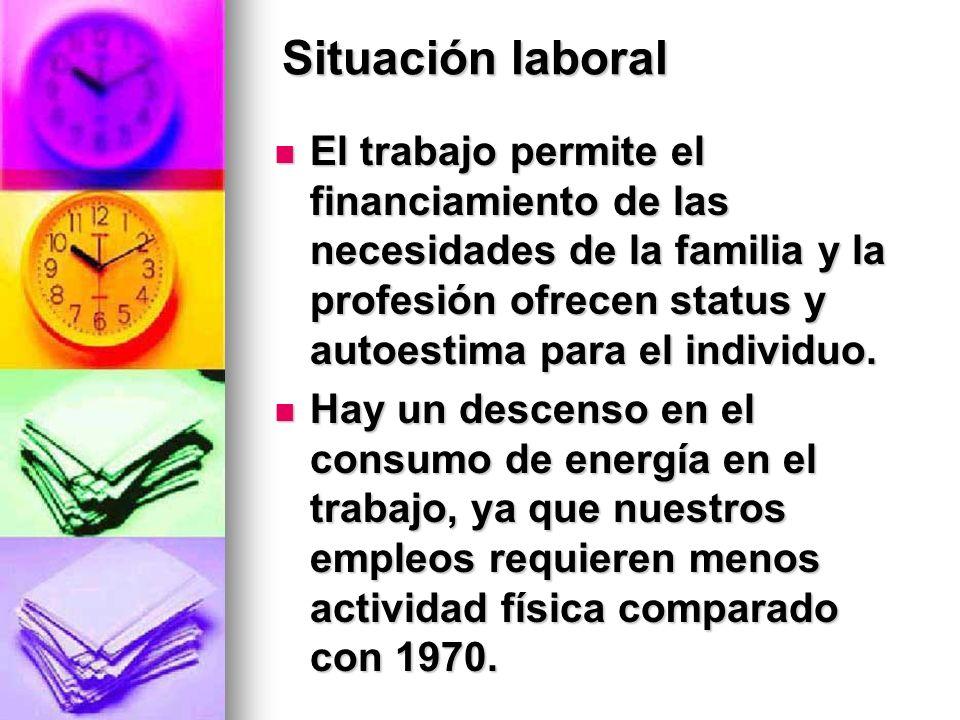Situación laboral El trabajo permite el financiamiento de las necesidades de la familia y la profesión ofrecen status y autoestima para el individuo.