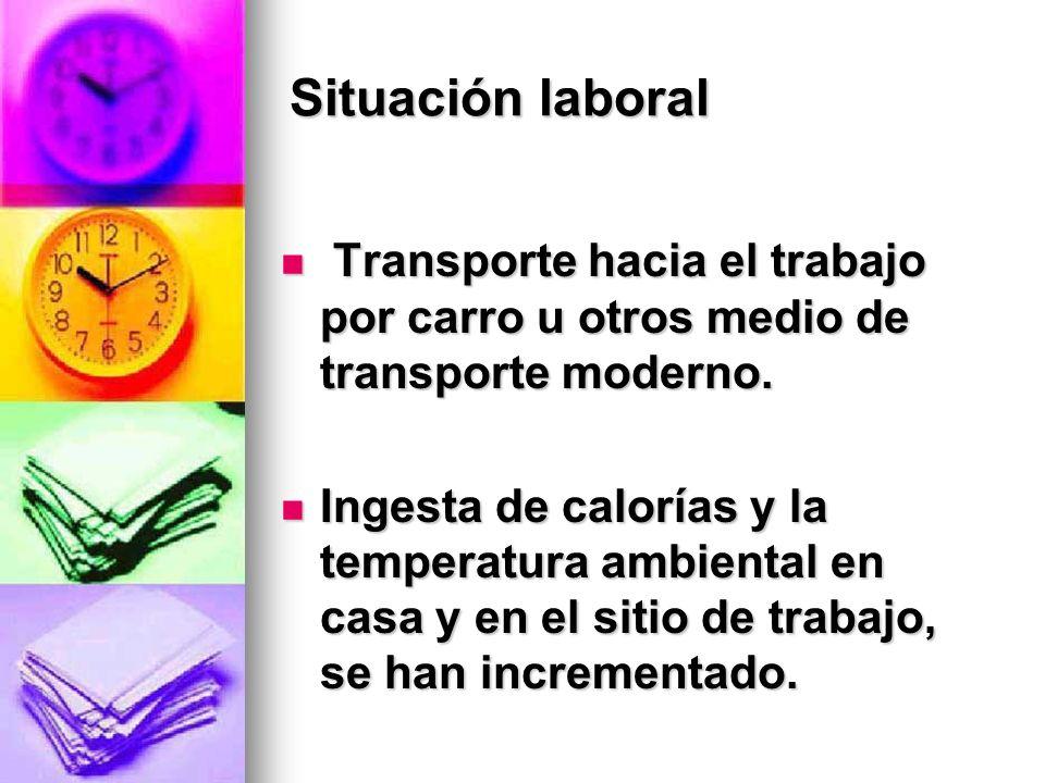 Situación laboral Transporte hacia el trabajo por carro u otros medio de transporte moderno.