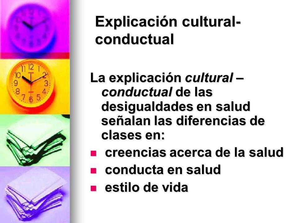 Explicación cultural- conductual