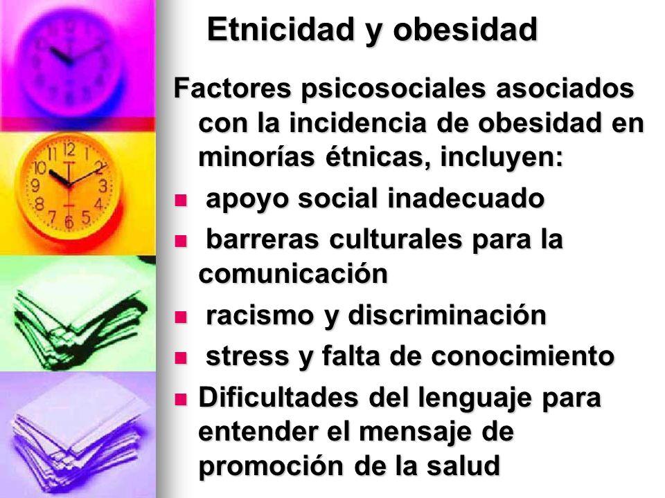Etnicidad y obesidad Factores psicosociales asociados con la incidencia de obesidad en minorías étnicas, incluyen:
