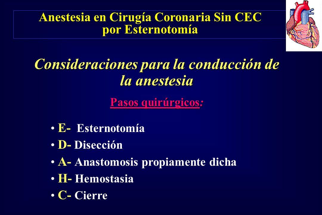 Consideraciones para la conducción de la anestesia