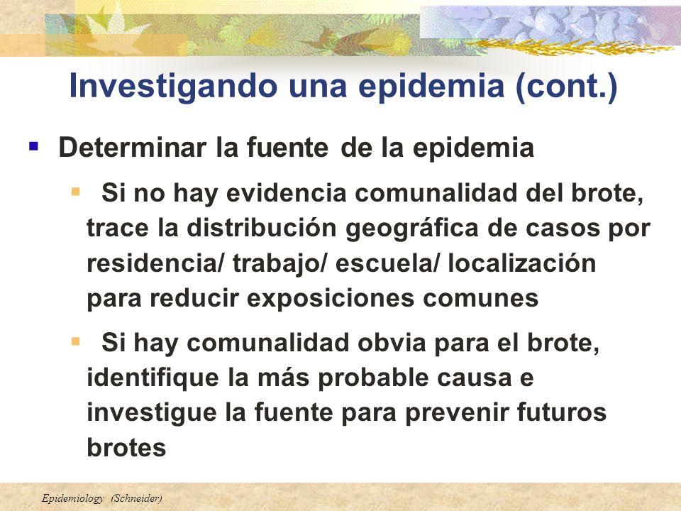 Investigando una epidemia (cont.)