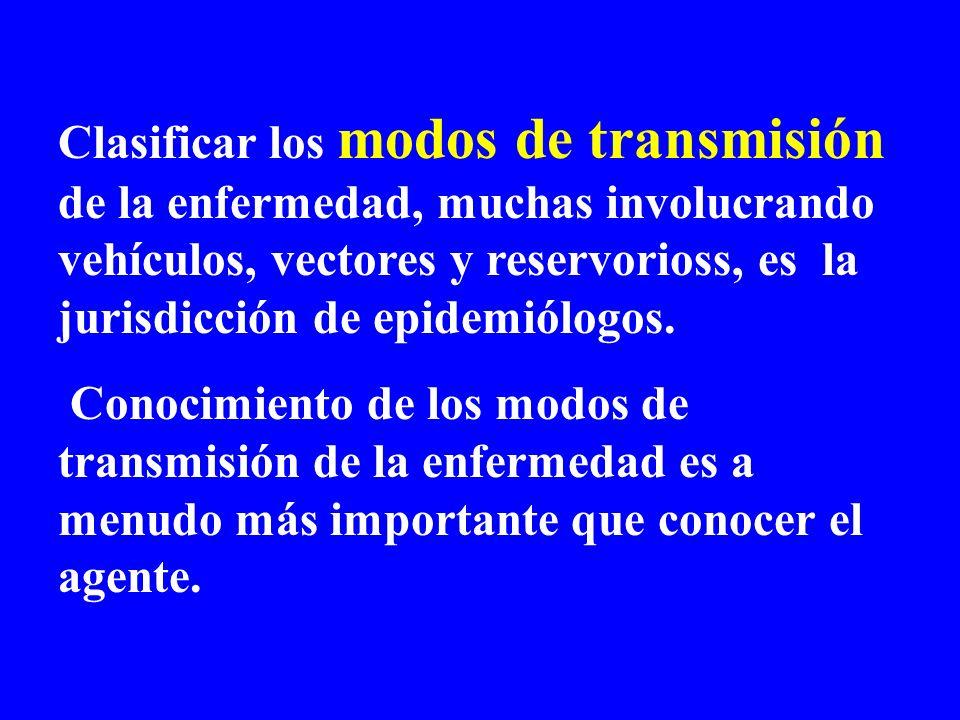 Clasificar los modos de transmisión de la enfermedad, muchas involucrando vehículos, vectores y reservorioss, es la jurisdicción de epidemiólogos.