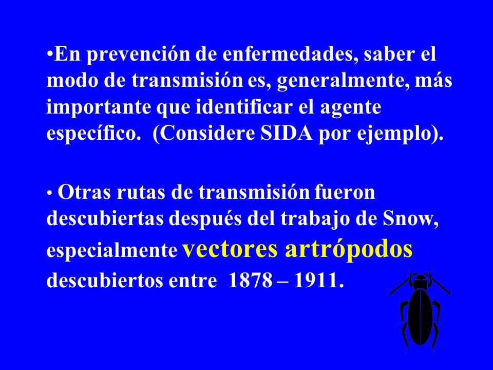 En prevención de enfermedades, saber el modo de transmisión es, generalmente, más importante que identificar el agente específico. (Considere SIDA por ejemplo).