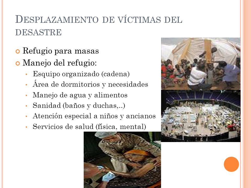 Desplazamiento de víctimas del desastre