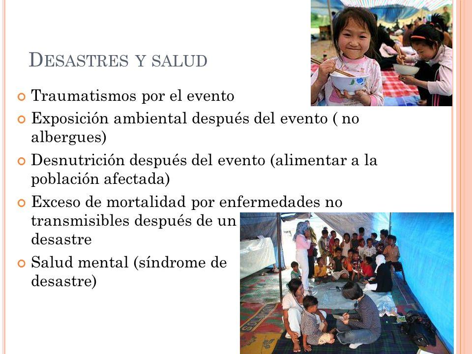 Desastres y salud Traumatismos por el evento